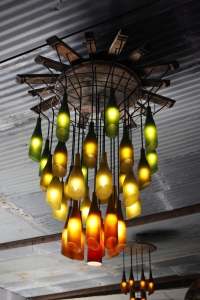 Recycled Wine Bottle Chandelier from Bewleys Rerun Productions